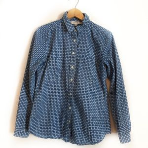 ❄️ Ann Taylor Loft Denim Print Button Down Shirt